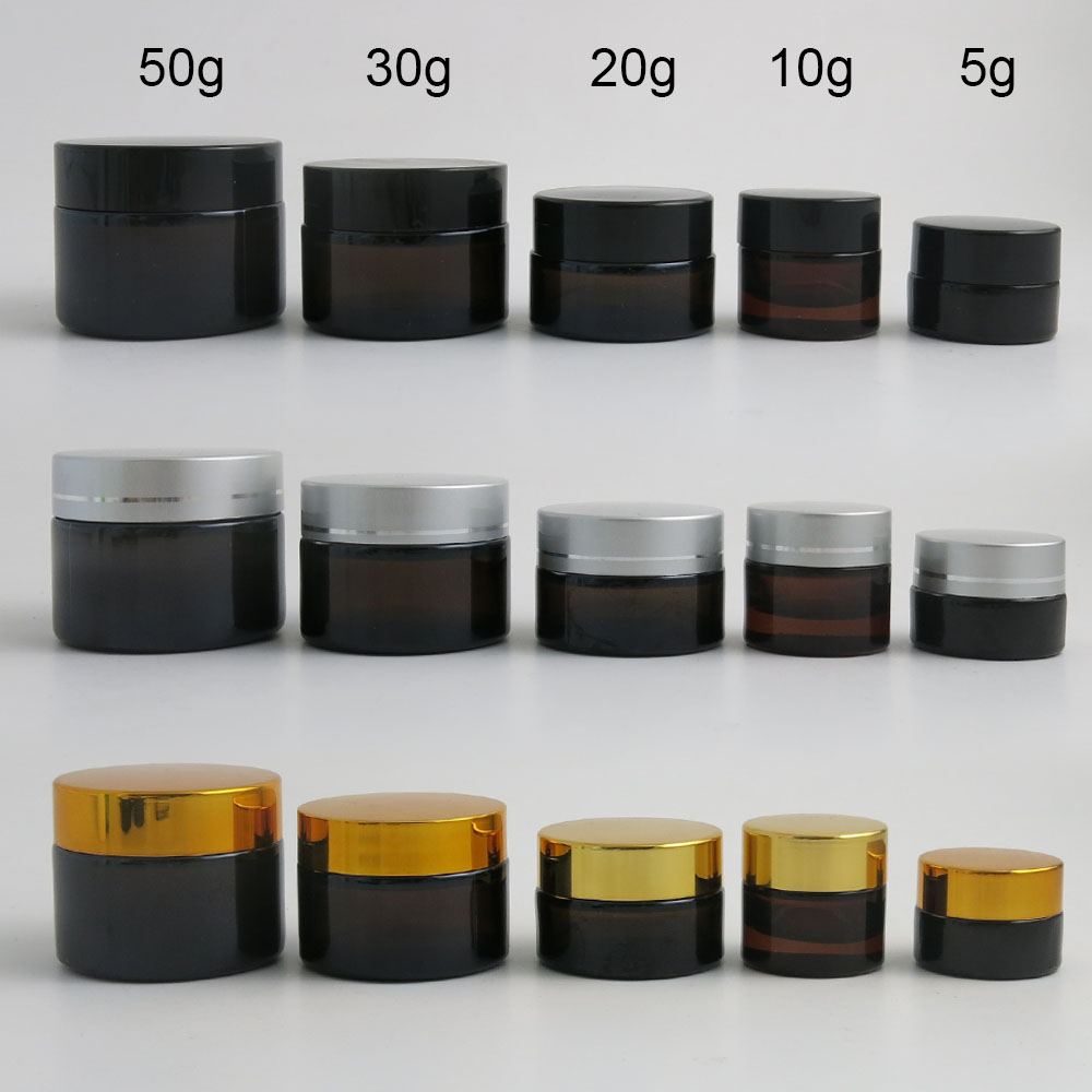 10 X 5g 10g 20g 30g 50g Portable Small Jars Pot Box Makeup Nail Art Cosmetic Bead Storage Container Amber Glass Cream Jar