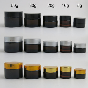 10 x 5g 10g 20g 30g 50g Portable Small Jars Pot Box Makeup Nail Art Cosmetic Bead Storage Container Amber Glass Cream Jar 12pcs 20g amber glass cream jars cosmetic packaging with lid black plastic caps