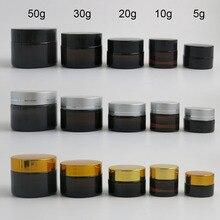 10x5g 10g 20g 30g 50g przenośne małe słoiki garnek Box makijaż pojemnik na kosmetyki i koraliki do paznokci pojemnik amber słoik kremu szkła