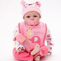 55 см Милые силиконовые Reborn Baby Doll Реалистичного новорожденных кукла с мягкой тканью тела игрушка для девочек на день рождения Новый год Рожд