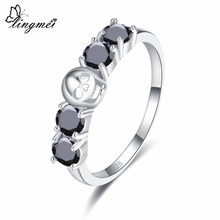 lingmei Fashion Round Cut Blue & Black Zircon Silver Skull Ring Size 6 7 8 9 For Women Men Jewelry Gift Chic Wedding Rings(China)