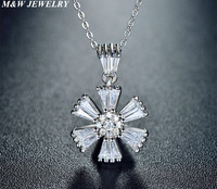 M W JEWELRY New Issued Girl S White Centre CZ Stone Sakura Flower Pendant Necklace Floral