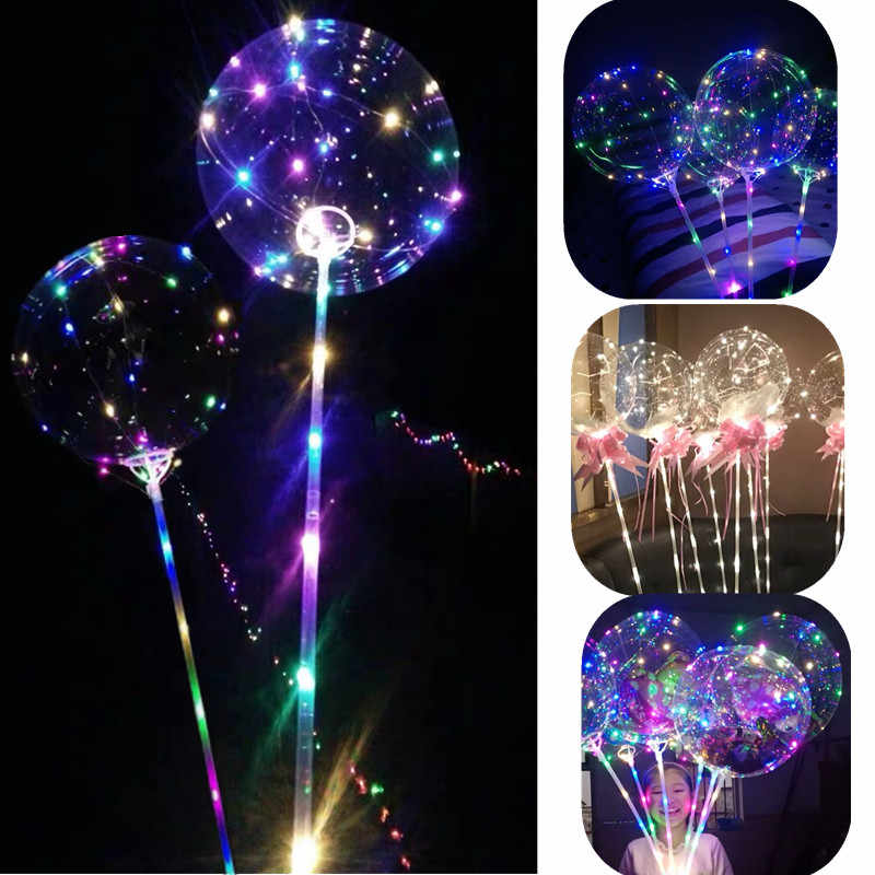 Reusable Luminous LED Balloon Transparent Round Bubble Birthday Party Wedding Decoration LED Bubble Balloon Baby Shower Kids Toy
