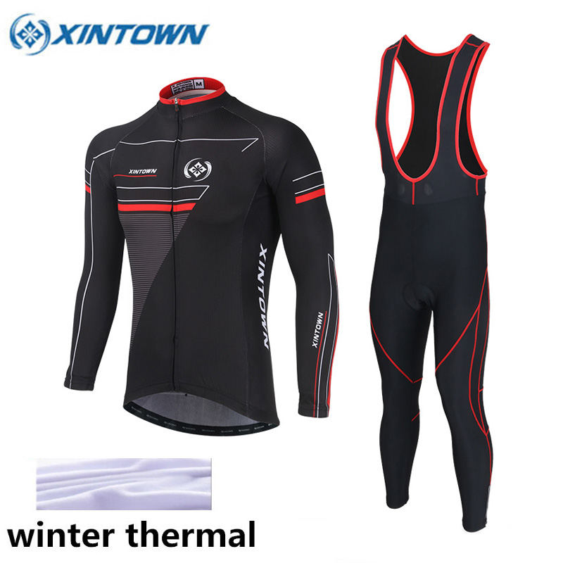 Winter Thermal Fleece Pro Team Cycling Jersey Set Long Sleeve Bicycle Bike Clothing Cycle Bib Pantalones Ropa Ciclismo Invierno black thermal fleece cycling clothing winter fleece long adequate quality cycling jersey bicycle clothing cc5081