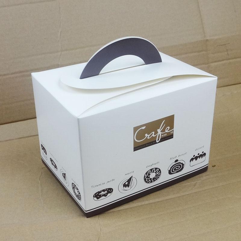 15*15*11cm Unique Handle Dessert Paper Box Square Cookie ...