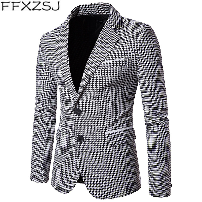 FFXZSJ Suit Jackets Men Blazer Fashion Male Plaid Business Formal Plus Size Slim Fit Suit blazer Masculino Wedding Overcoats
