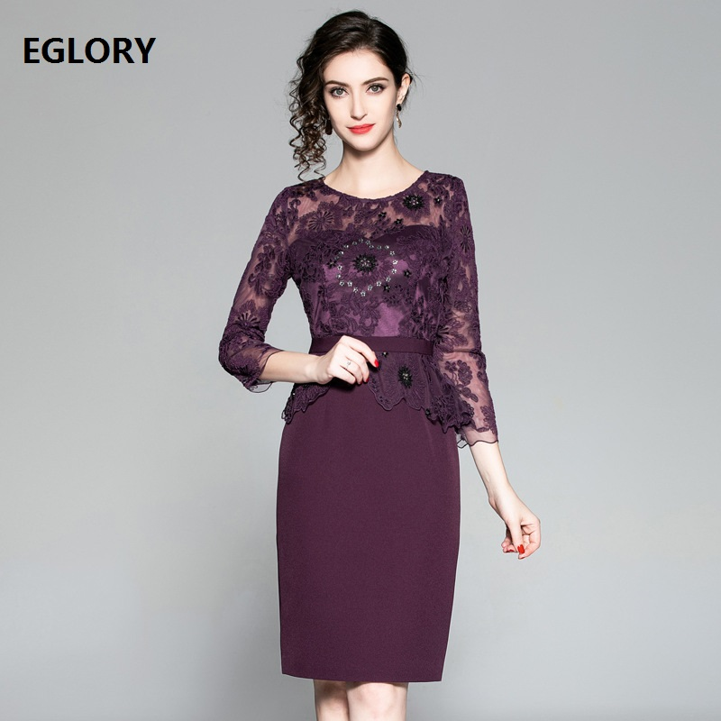 Vestidos De Festa 2018 Autumn Winter Fashion Cocktail Party Women's Dress Tulle Lace Embroidery Patchwork Sheath Pencil Dress