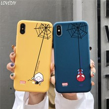 Logo marvel SpiderWoman Spiderman śliczny kreskówkowy cukierek etui z tpu dla iphone 11 Pro X XS Max Xr 7 8 6 s Plus 3D Relief Case Capa(China)