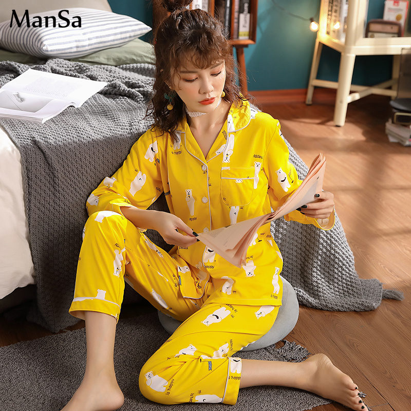good quality Spring Women Comfortable Cotton   Pajama     Set   Girl Printing Pyjama   Set   Long Sleeve Sleepwear Plus Size 3XL   Pajamas     Set