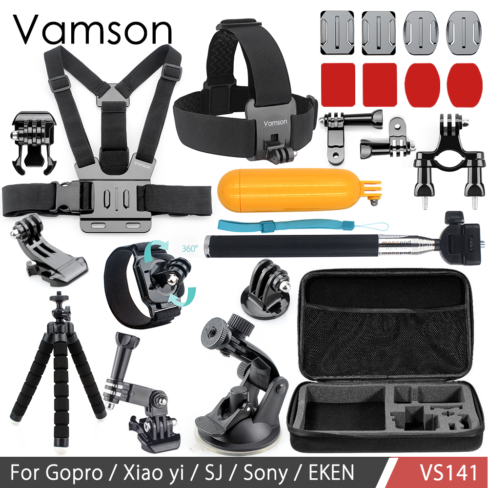 все цены на Vamson for Go pro Accessories Set 3 Way Mount Floaty Bobber Monopod for Gopro Hero 6 5 4 3 for Xiaomi for Yi for SJCAM VS141
