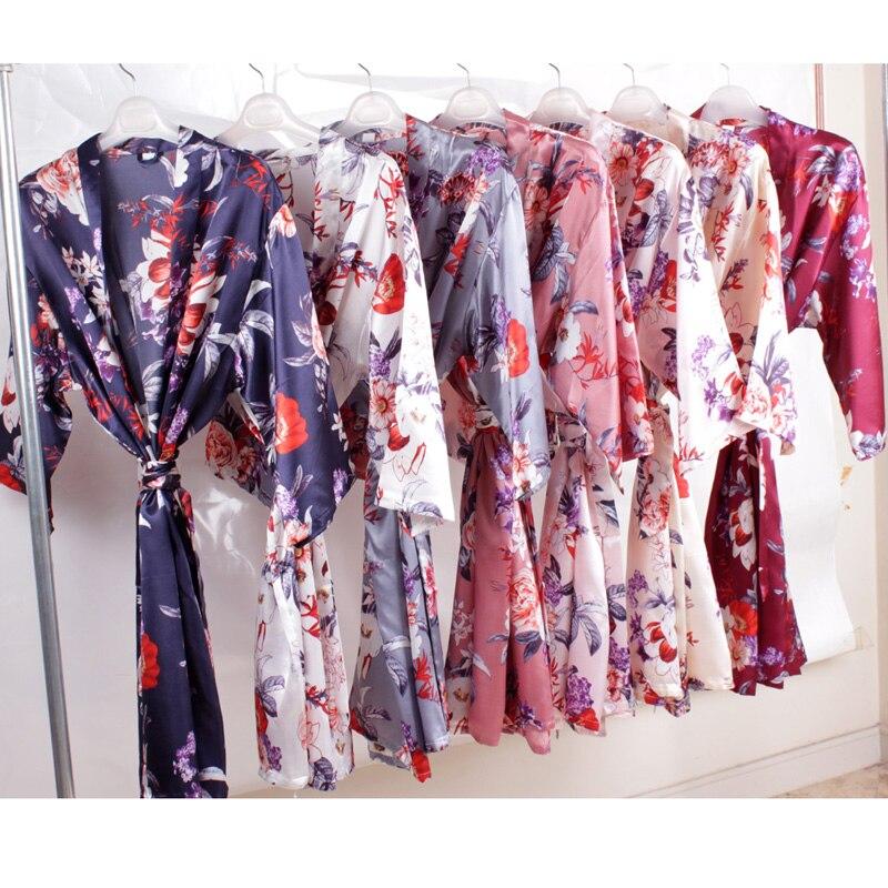 Floral Silk Robefor Women,bride Robe ,wedding Party Gift, Sexy Robe ,Bridesmaid Robes ,satin Bath Robe  A2370