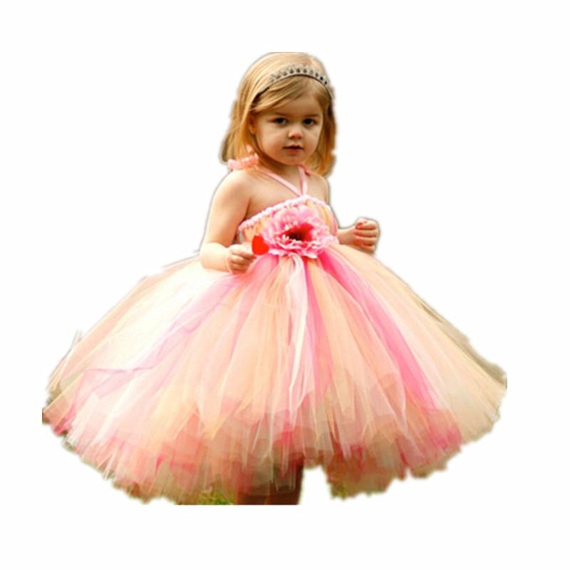 BBWOWLIN Flower Girl Dress baby girls dress halter Rainbow tutu dress for wedding vintage halter cherry print dress