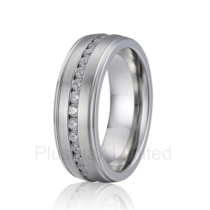 high quality Best China factory his and hers cz stone pure titanium jewelry wedding band fashion rings anel feminino cheap pure titanium jewelry wholesale a lot of new design cheap pure titanium wedding band rings