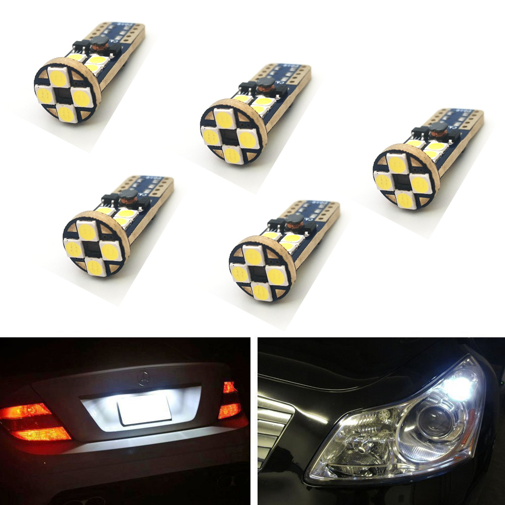 Welback T10 W5W CANBUS Error Free 12 SMD LED Bulbs for Car Interior Dome Map Door Courtesy License Plate Lights Xenon White