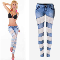 Olrain  Russia Sexy Lady Low Waist Lace Splice Hollow Out Stretch Jeans 2016 Summer Casual Denim Pencil Pants Trousers