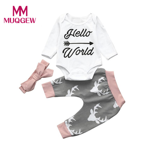 65779d96ff3 3pcs newborn baby Christmas clothes set girls Toddler Boys Letter Baby  Clothing Sets Romper+Pants