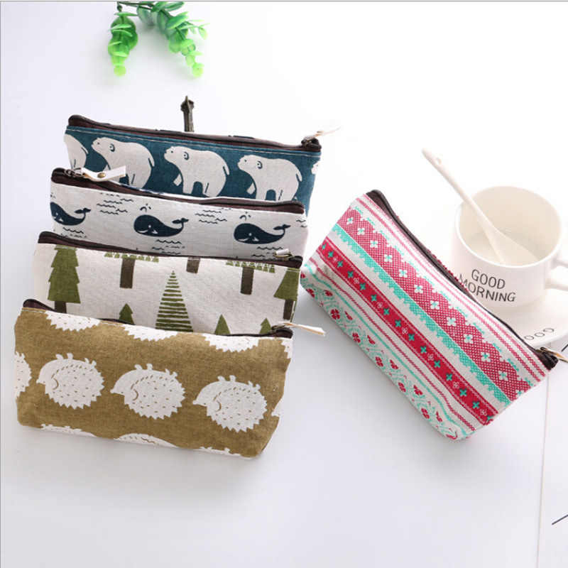 1 Pc Gift Pencil Bags Animals Canvas Floral Hedgehog Polar Bear Tree Whale Lovely Pencils Case Stationery School Storage Supply