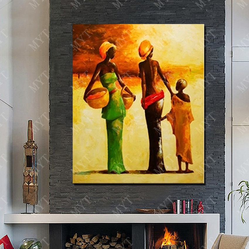 Hand drawing designer home decoration africa canvas wall art paint ...