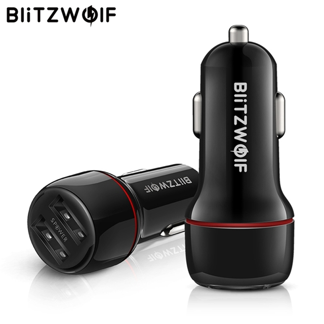 BlitzWolf 24W Dual Ports Quick Charge LED Lights USB Car Charger With Power3S Tech For iPhone USB Type-C PD Fast Charger Tablet