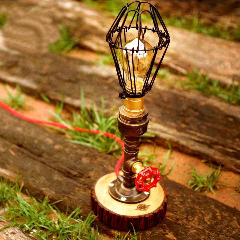 Hot sale Vintage Table Lamp Light Bulb Vintage Table Lamps Personalized Water Pipe Desk Lamp fumat table lamps four feet water pipe light loft vintage halogen bulb table lamp american industrial pipe desk lamps for bar