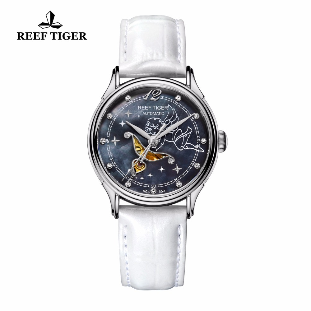 New Reef Tiger/RT Fashion Blue Dial Stainless Steel Watches for Lover Womens Watches Diamonds Ladies Watches RGA1550 yn e3 rt ttl radio trigger speedlite transmitter as st e3 rt for canon 600ex rt new arrival