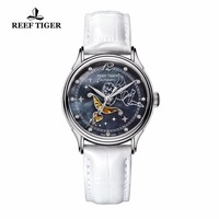 New Reef Tiger/RT Fashion Blue Dial Stainless Steel Watches for Lover Womens Watches Diamonds Ladies Watches RGA1550