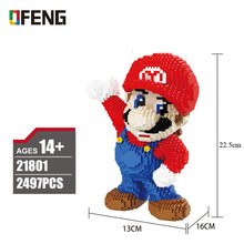 Super Mario Red Figure 3D Model 2497pcs Micro Diamond  Blocks Bricks Mini Building Assembly Toy Gift Collection