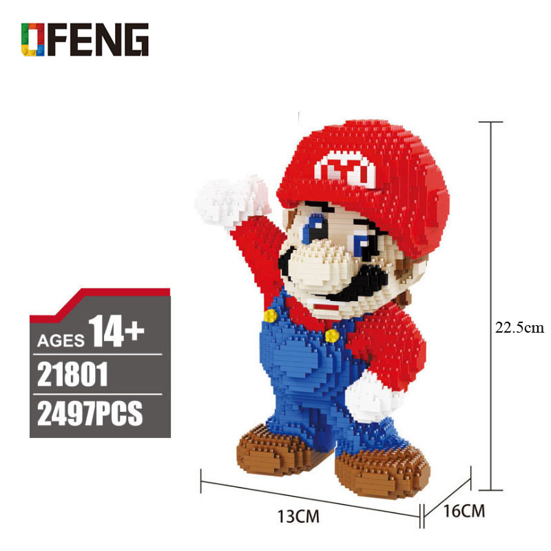 Super Mario Red Mario Figure 3D Model 2497pcs Micro Diamond Nano Blocks Bricks Mini Building Assembly Toy Gift Collection