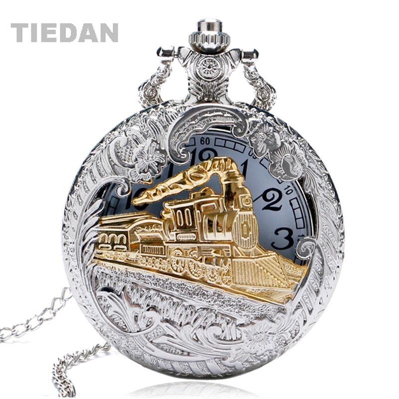 Sølvfarvet Vintage Retro Train Hollow Pocket Watch Quartz ure med - Lommeur - Foto 1