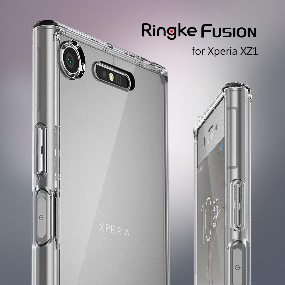 Ringke Fusion Cas pour Sony Xperia XZ1 Transparent PC Retour TPU Pare-chocs Intégré Prise de La Poussière Baisse Résistance Hybride Cas