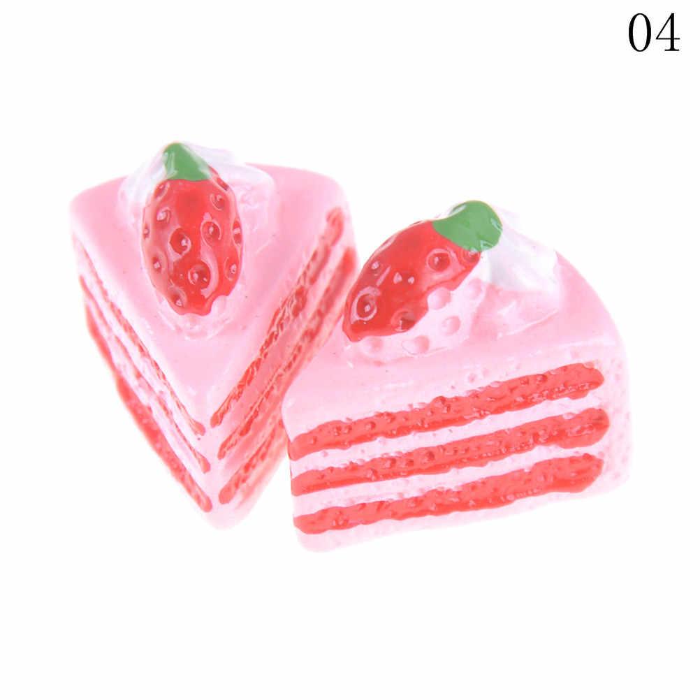 Nieuwe 2 Stks/set Simulatie Mini Cake Miniatuur Voedsel Scène Model Diy Poppenhuis Accessoires Hars Cake Model