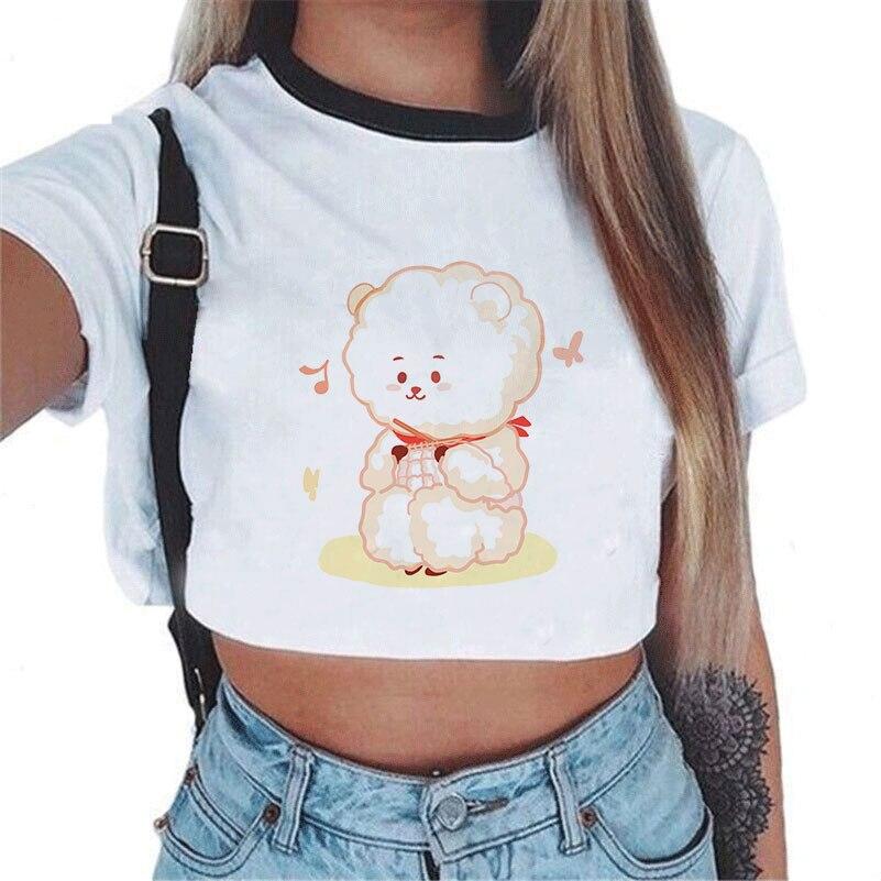 Bts Kpop Women Bt21 Print White Clothes Short Sleeve Crop Top tank Shirts Bts Love Yourself speak map of persona