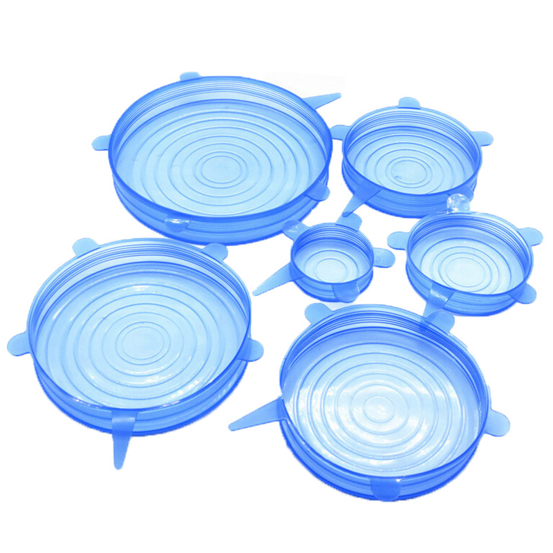 6Pcs lot Silicone Stretch Lids Universal Food Taper Bowl Pot Lid Food Wrap Cover Sealed Silicone Cover for Kitchen Cookware in Cookware Lids from Home Garden