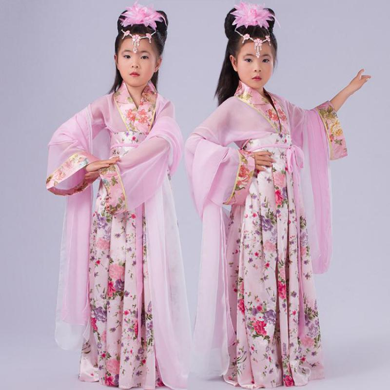 Print Floral Kids Hanfu Clothing Suit Fairy Dress Chinese Ancient Baby Girls Princess Costume Vintage Children Cosplay Clothes