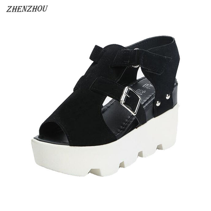 ZHENZHOU 2018 summer woman Sandals European wedges and magic stick fish-mouth sandals waterproof platform muffin women's shoes. цена
