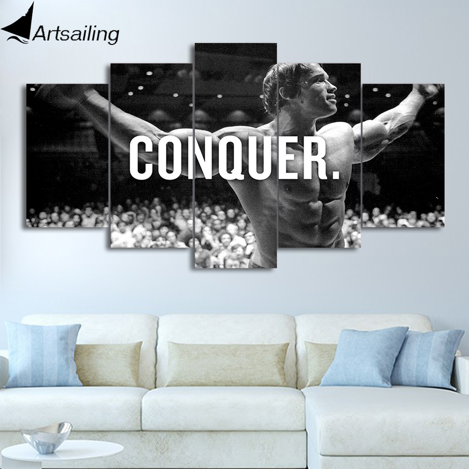 Us 5 99 40 Off Artsailing Hd Print 5 Piece Canvas Art Arnold Schwarzenegger Home Decoration Accessories Wall Picture For Bedroom Poster Ny 4902 In