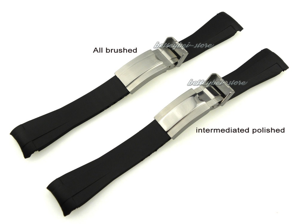 20mm Hot Sale New font b Men b font Lady Black Strap for Clock Silicone Rubber