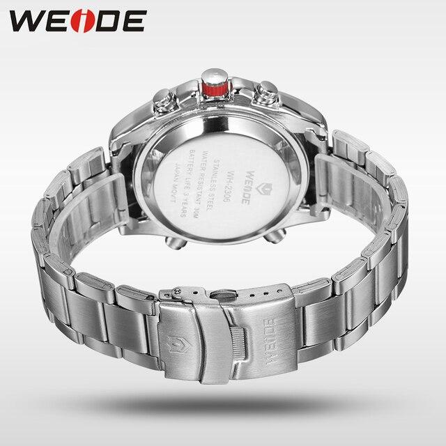 WEIDE Men's Army Quartz Sport Watch Men Analog LED Analog Digital Display Stainless Steel Band Date Clock Outdoor Wristwatch