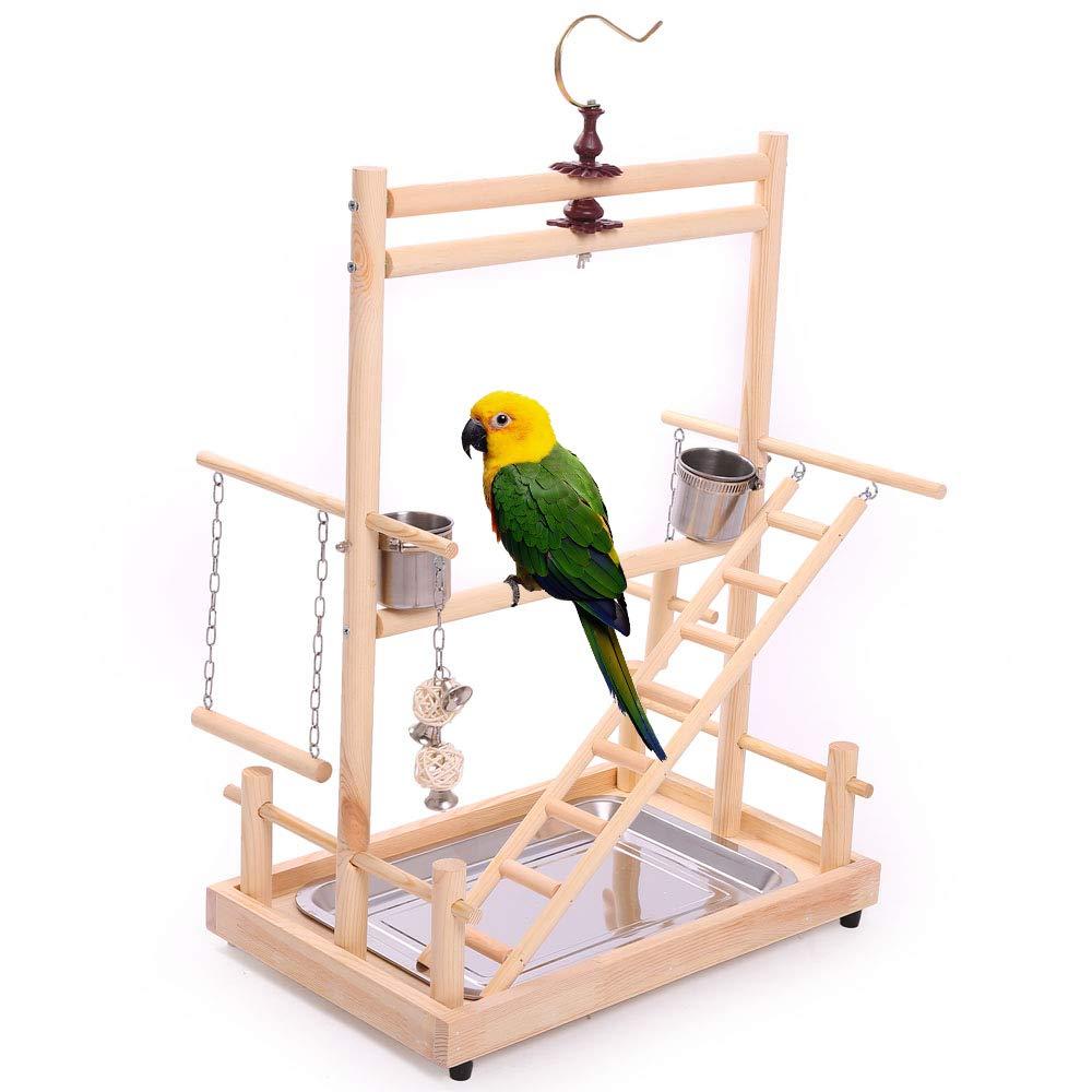 Perchoirs à oiseaux Play Stand Gym ParrotPlaygym parc à jouets balançoire pont plateau bois escalade échelles en bois Conure perruche Macaw