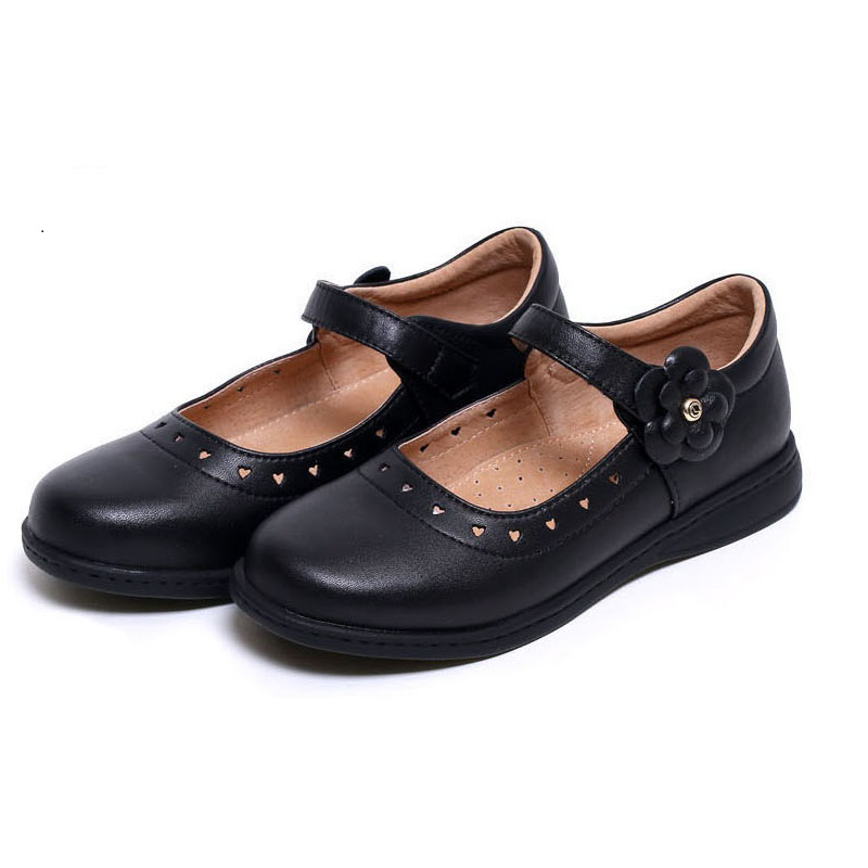 KALUPAO Newest Spring Autumn Princess Girls Shoes Kid Party Dress Shoes Fashion Flowers Black Leather School Shoes For Children uoipae party dress girls 2018 autumn