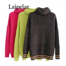 Laipelar 2019 Winter Candy Color Oversized Turtleneck Sweater Hot Mustard Color Loose Knitted Jersey loose turtleneck color block chunky sweater