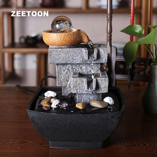 110V   240V Europe Mini Fountain Water Features Feng Shui Crystal Ball  Lucky Desktop Office Water