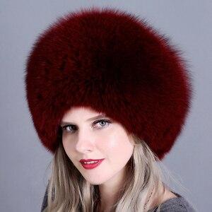 Image 4 - Winter Women Fur Cap Real genuine natural Fox Fur Hats Headgear Russian Outdoor Girls Beanies Cap ladies warm fashion cap