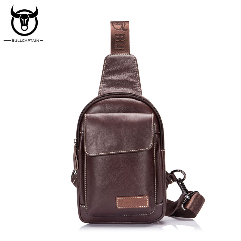 BULLCAPTAIN Brand Genuine Leather Mens Chest Bags Sling Bag Casual fashion Men Shoulder Bag Cowhide Crossbody Bags Chest Pack casual canvas satchel men sling bag