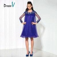 Dressv A Line Indigo Chiffon Short Cocktail Dresses Sheer Long Sleeve Appliques Homecoming Dress Plus Size Formal Party Dress