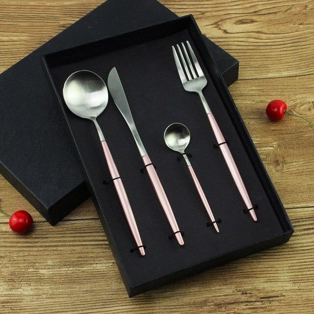 7 Farben Edelstahl Besteck Set Edle Gabel Messer Dessert Geschirr Geschirr  Gold Silber Schwarz Kaffee