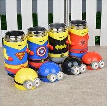 280 ML Portable Kids Niños de Dibujos Animados Spiderman Minions Taza Vientre Taza de Vacío de Acero Inoxidable Termo Botella de Agua de Regalo de Navidad