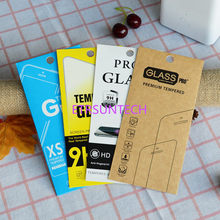 3000pcs 4 Style Kraft paper Glass retail packaging box/paper box/white box for iphone 7 6 6 plus Samsung Screen Protector Film