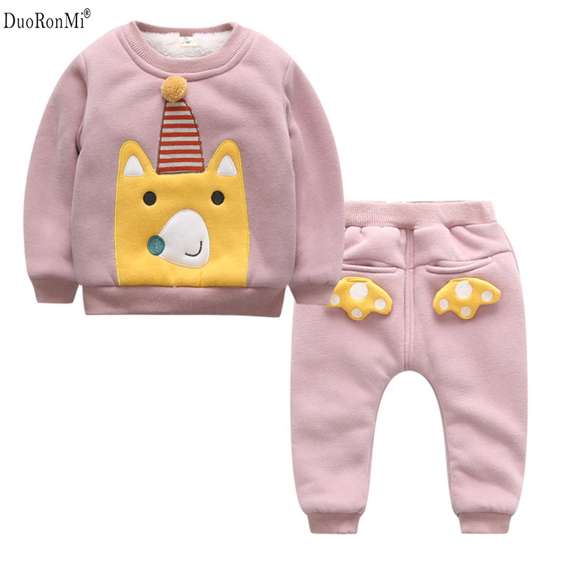 Kids Thick Pajamas Suit Girls Clothing Sport Sets Plus Velvet Children Cartoon Style Baby Clothes Kids Winter Newborn Clothing child suit 2015 autumn and winter children set twinset clothing plus thick velvet sets kids clothes with animal