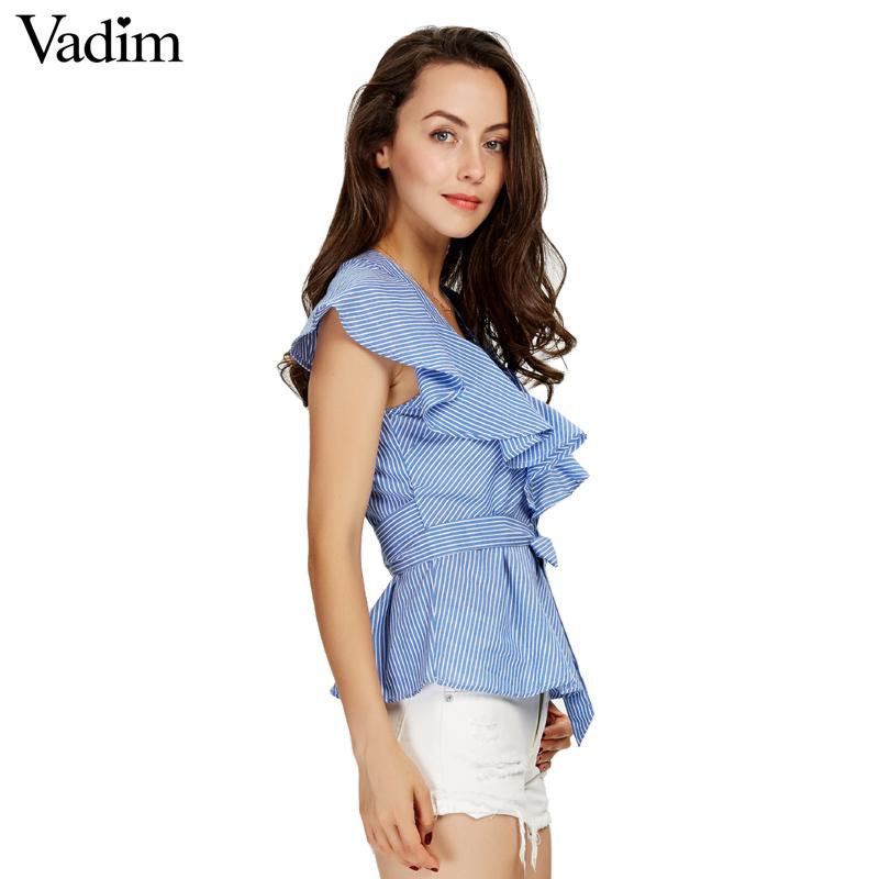HTB1pbS8SXXXXXX4XpXXq6xXFXXX5 - Women sweet ruffles striped blue v-neck short sleeve